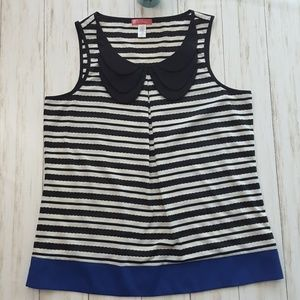 6 degrees striped tank with peter pan collar sz L